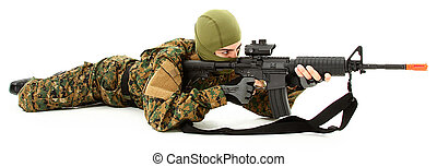 Young Man in Camo Shooting Air Rifle