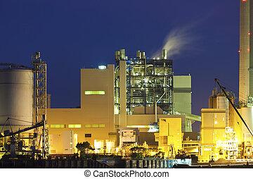 producto petroquímico, planta, noche
