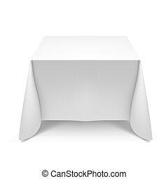 Dining table - White square table with tablecloth....