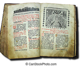 Aged old religious opened book over white background