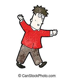 cartoon man balancing man