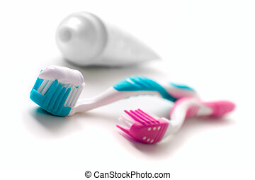 toothpaste and toothbrushes closeup dental care
