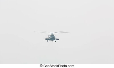 Mi-8 - Mil Mi-8 russian military helicopter flying over the...