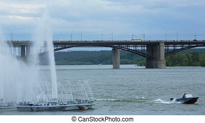 River fountain - Fountain in the Ob river, Novosibirsk,...