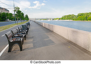 View of Moscow. Frunze embankment in spring day