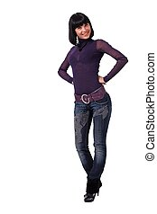 Smiling young woman in jeans