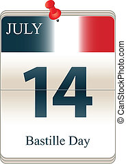Bastille Day - Vector of the date white block calendar...