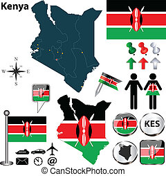Map of Kenya - Vector of Kenya set with detailed country...