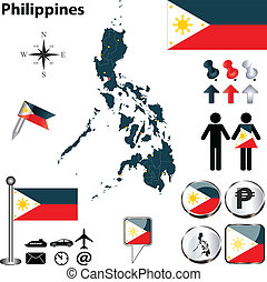 Map of Philippines - Vector of Philippines set with detailed...