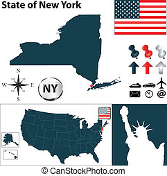 Map of New York - Vector set of New York country shape with...