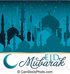 Eid Mubarak Blessed Eid mosque card in vector format