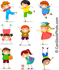 kids collection - collection of happy kids in different...
