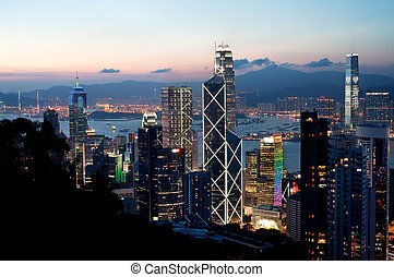Central district skyscrapers at sunset, Hong Kong Island -...