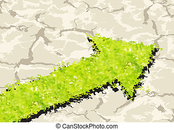Grass Arrow on crack ground Vector illustration