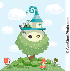 Fairy tale house. Vector illustration background. Vector...