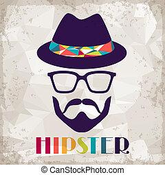 hipster, fondo, retro, stile