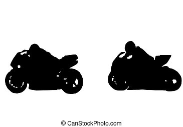 motorcycle racing - silhouette of two racing motorcycles on...