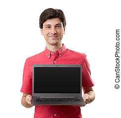 casual man presenting a laptop with a empty screen
