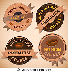 Set of vintage retro coffee badges , stock vector