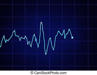 ECG graph - glowing blue ECG graph on dark grid
