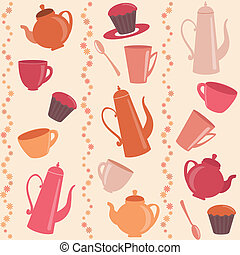 Seamless stripy pattern with tea and coffee items - Stripy...