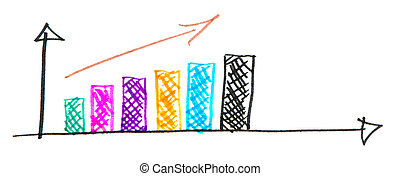 hand draw colorful business increase graph white - colorful...