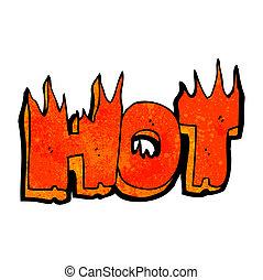 cartoon flaming hot word