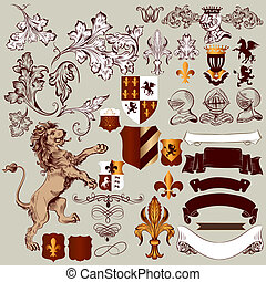Vector set of vintage heraldic elements for design - Vector...
