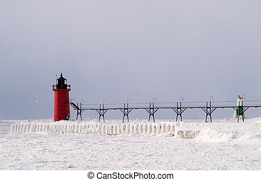 Snow storm over South Haven Lighthouse and Pier - Snow storm...