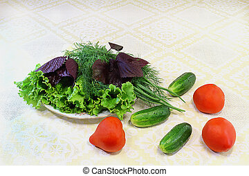 Lettuce, dill, onions and vegetables: tomatoes, cucumbers,