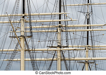 Tall ship rigging - Part of tall ship rigging against dark...