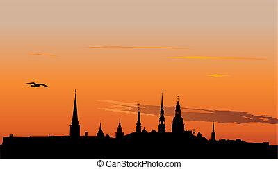 Riga panorama at sunrise - Illustration of Old Riga panorama...