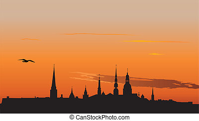 Riga panorama at sunrise