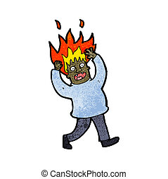 cartoon man with flaming hair