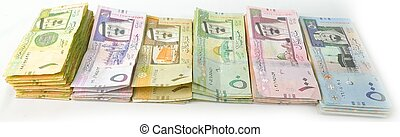 paper currency from Saudi Arabia with white background
