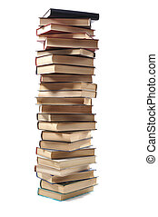 stack of book - high stack of books isolated on white...