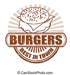 Burgers stamp - Burgers grunge rubber stamp, vector...