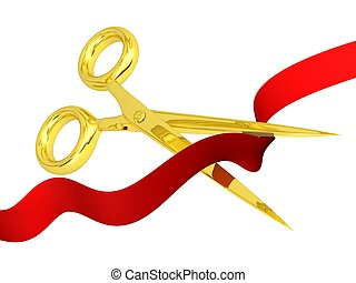 opening concept gold scissors cutting red ribbon