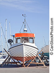 Boats on the shore - Parking of boats on the shore of the...