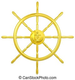 gold navy wheel - navigation wheel with anchor emblem