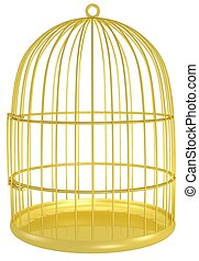 golden cage - 3d rendered gold cage for a bird