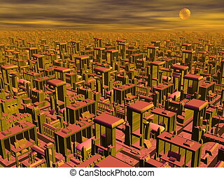 Futuristic cityscape - 3D render - Big futuristic cityscape...