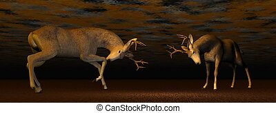 Bucks fighting - 3D render - Fallow buck deer fighting one...