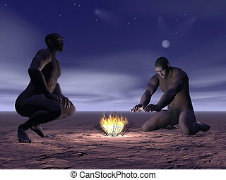Homo erectus and fire - 3D render - Two homo erectus men...