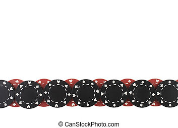 Poker Chips - Poker chips border pattern isolated on white