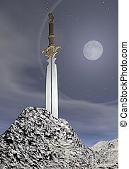 Magic sword - 3D render - Magic sword stuck in the rock by...