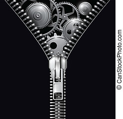 Abstract background zipper with gears, vector