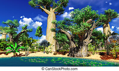 African savannah with lush and vibrant vegetation by the...