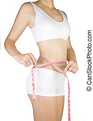 Woman measuring her waistline Diet Perfect Slim Body