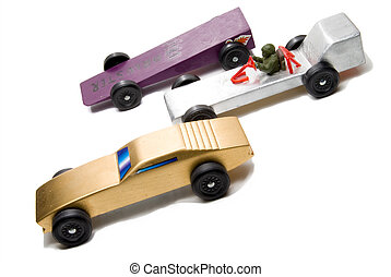 Pinewood Derby - Wooden cars of the type typically used for...